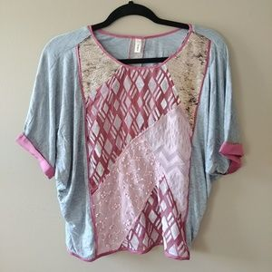 Pink Sequin Patchwork Boho Embroidered Top Blouse